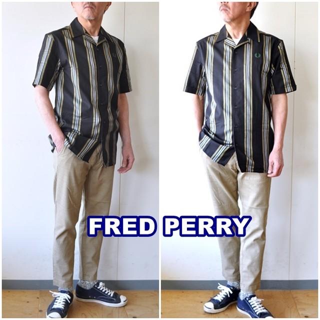 FREDPERRY フレッドペリー オープンカラーシャツ m1653   STRIPE REVERE COLLAR SHIRT ストライプシャツ