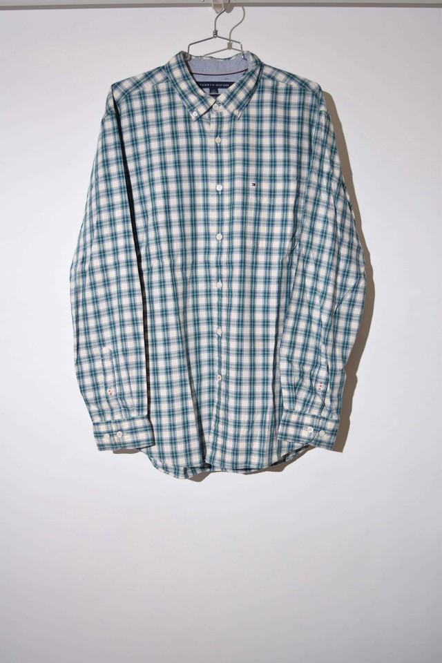 【Lサイズ】 TOMMY HILFIGER トミーヒルフィガー BD CHECK SHIRT 長袖チェックシャツ GREEN 400602190735