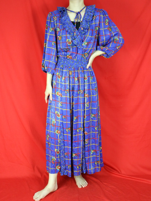 80s all pattern frill design dress【0541】