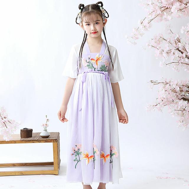 チャイナ風ワンピース 女の子 刺繍 漢服 中国風 子どもドレス シフォンワンピース 結婚式 入学式 卒業式 演奏会 ステージ 誕生日プレゼント パープル