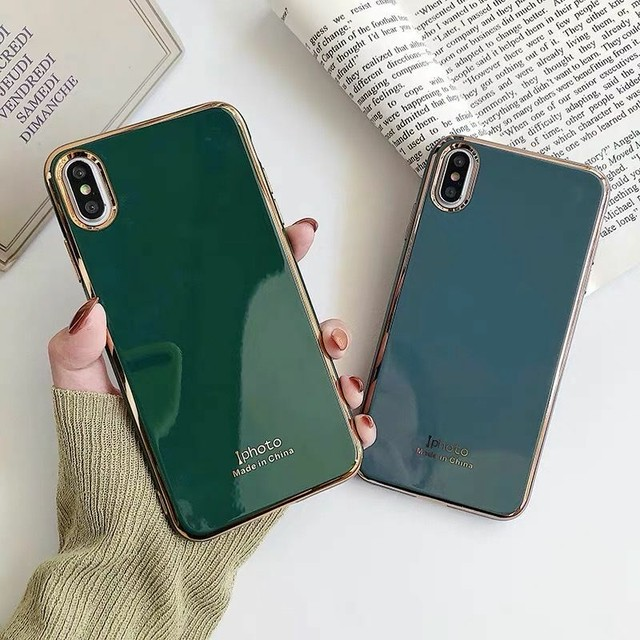 Bluegrey green metal side iphone case