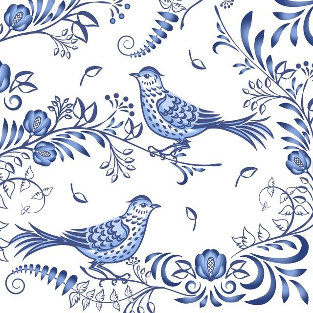 2021春夏【Paper+Design】バラ売り2枚 ランチサイズ ペーパーナプキン Porcelain bird ホワイト
