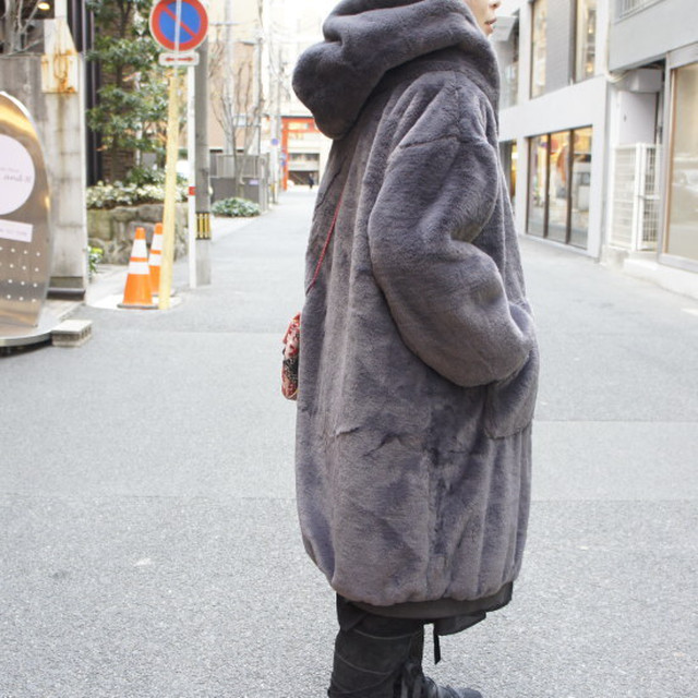 Topanga Fashion ボリュームファーパーカーコート グレー