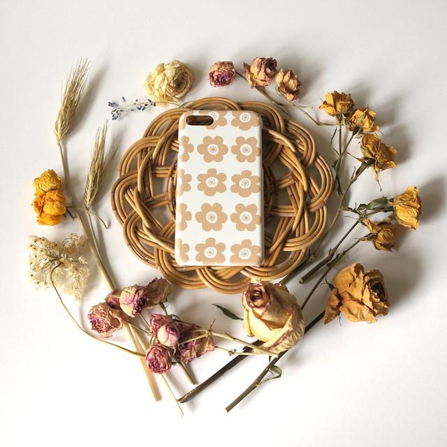 anemone ( beige ) スマホケース - L サイズ 【受注生産】