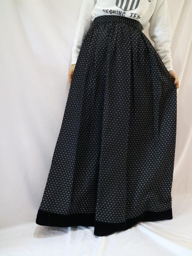 glitter dot pattern maxi skirt【1239】