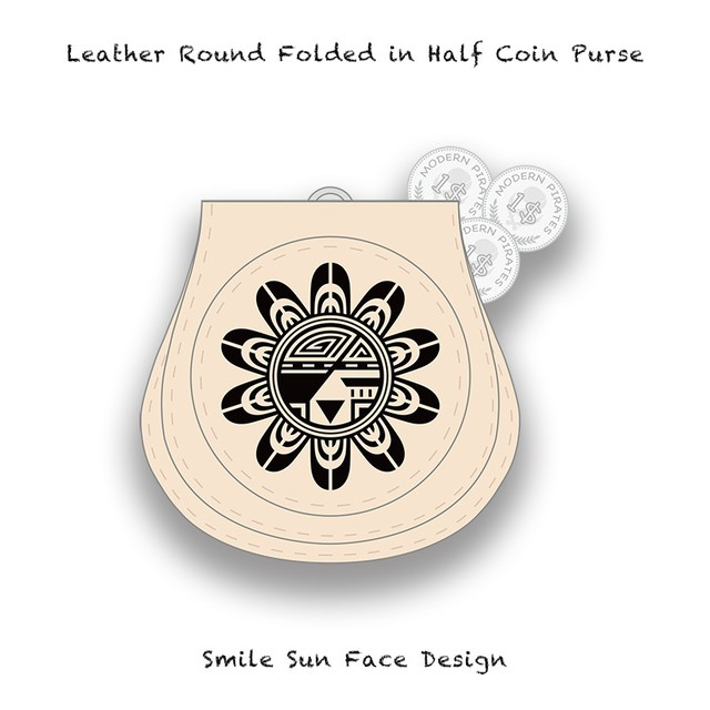 Leather Coin Purse / Smile Sun Face Design 002