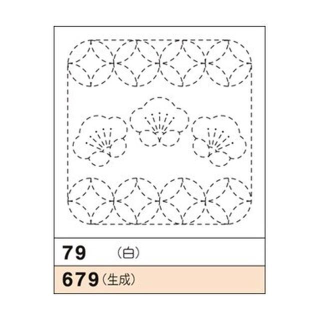 オリムパス花ふきん No.79(白)梅と丸七宝
