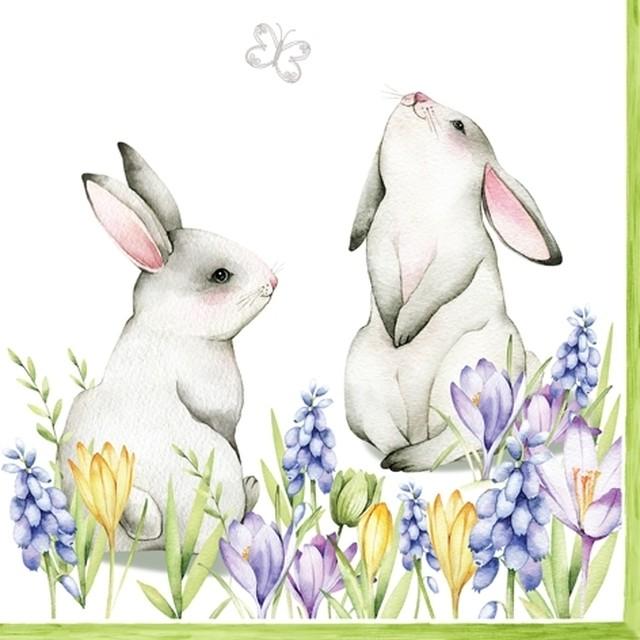 2021春夏【ti-flair】バラ売り2枚 ランチサイズ ペーパーナプキン Bunnies in Spring Meadow ホワイト