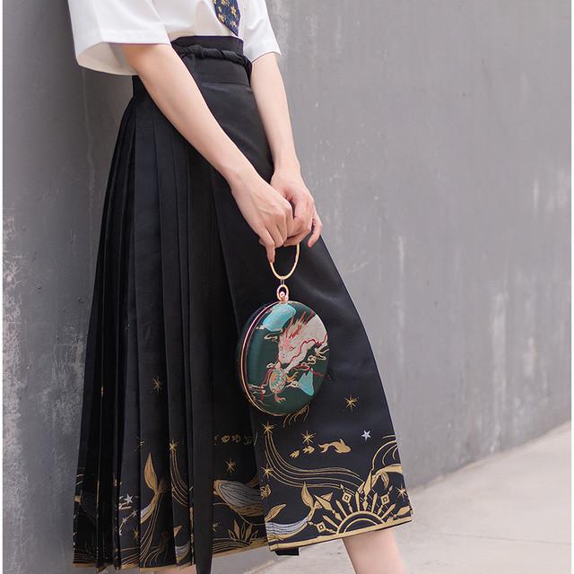【海棠落シリーズ】★チャイナ風スカート★ 巻きスカート ロングスカート オリジナル ブラック 黒い 漢服スカート