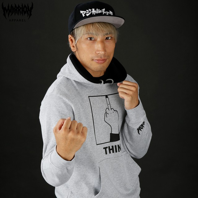 「THINK」Hoodie (MixGray×Black)