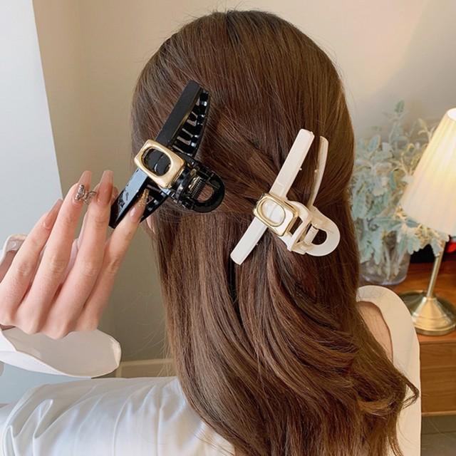 ヘアアクセサリー バンスクリップ ヘアクリップ 韓国 ヘアレンジ 簡単 まとめ髪  シンプル 大人 レディース 女性 大きめ ゴールド ゴールドスクエアパーツバンスクリップ