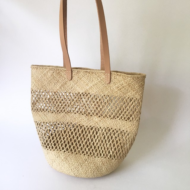 Madagascar Raffia Leather Handle Bag