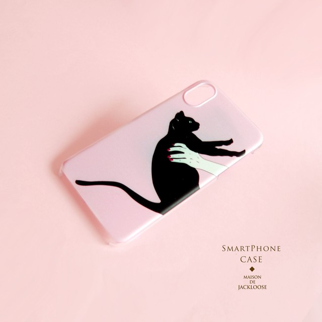 黒猫のパウダーピンクのスマホケース/iPhone AQUOS Xperia Galaxy 他 ※ オーダーメイド
