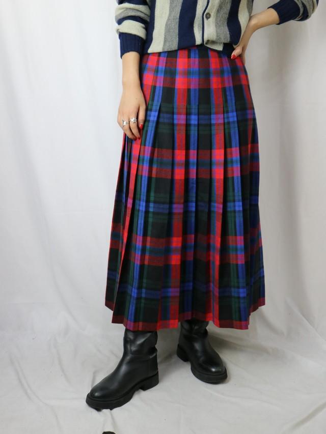 plaid pattern pleat skirt【5688】