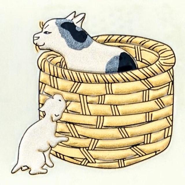 かごの猫 うつし金蒔絵シール [一般柄]