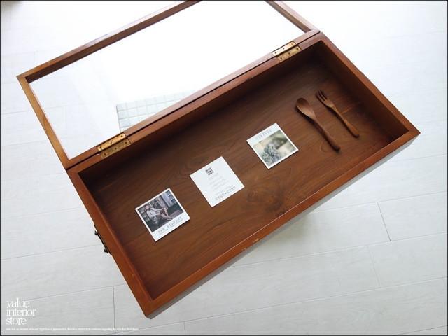 コレクションケースN80cm 木製ショーケース ガラスケース オールドチーク総無垢 手作り レトロ調
