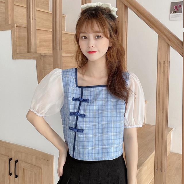 チャイナ風シャツ トップス チャイナ風服 可愛いボタン ミニ丈 フリーサイズ ブルー ピンク 切り替え チュール
