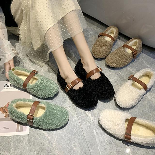 【シューズ】ファッションポインテッドトゥ暖かいフラットシューズ24215788