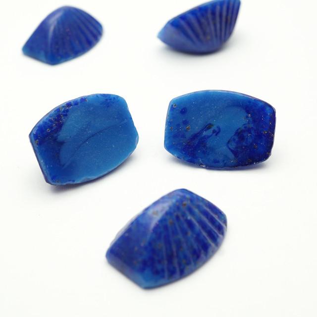 ヴィンテージ 変形デザインガラスカボション  17x12mm コズミックブルー アンティーク