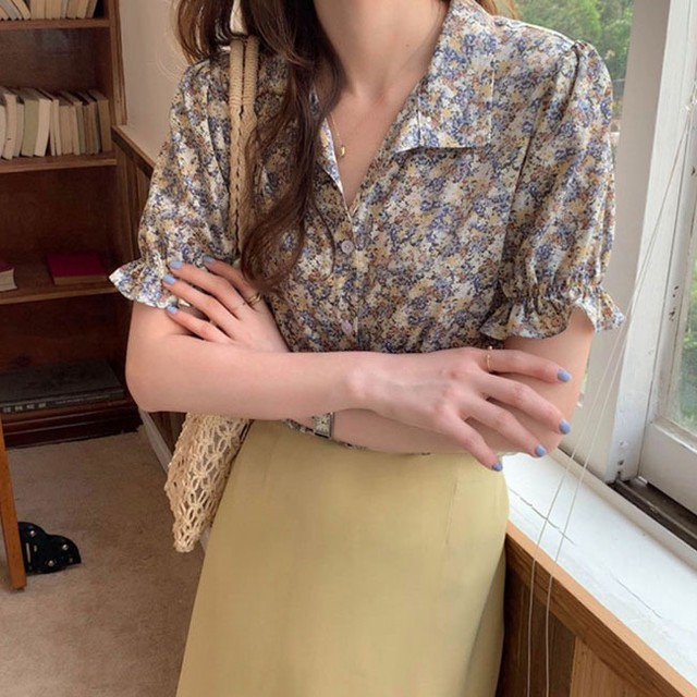 30%OFF French flower blouse blue / ブラウス / LE-64