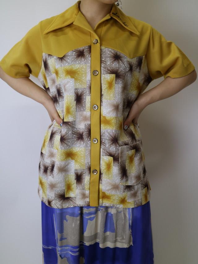 70s half sleeve shirt【1159】