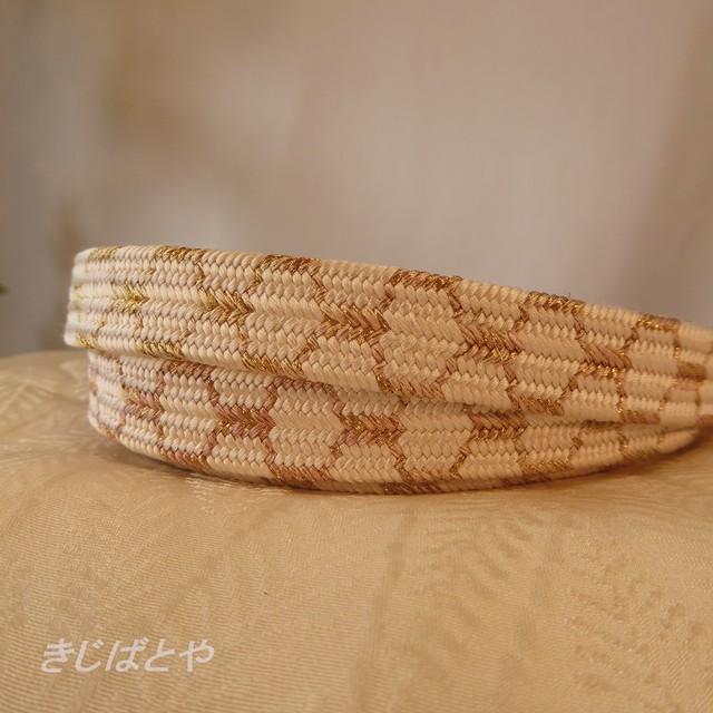 【S様ご予約品】正絹 白地に網目の平組の帯締め