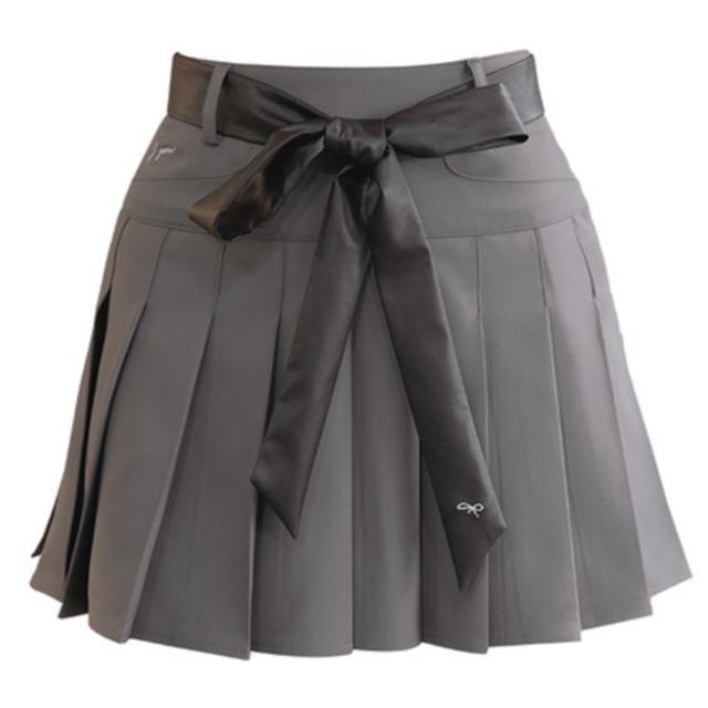 Leather Belt Skirt(Gray)