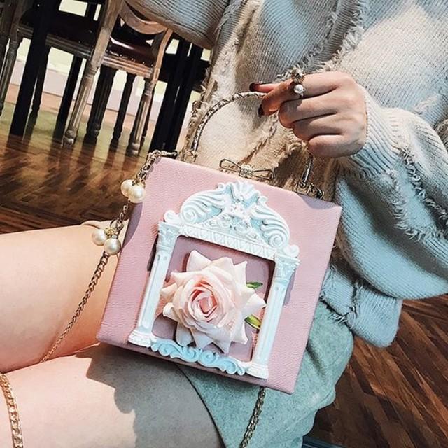 レトロガーリー♡ローズフレームショルダーバッグ C0222