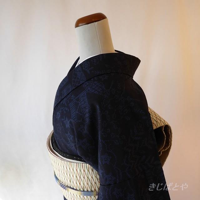 正絹結城紬 紺地に水色の織り模様の小紋 袷