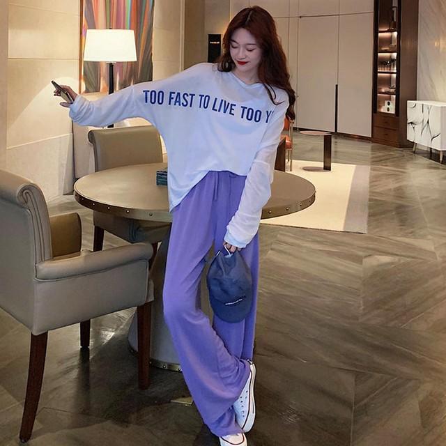 【送料無料】 おしゃれなゆるコーデ♡ 大人見え カジュアル ロゴ オーバーサイズ ロンT × ワイド パンツ セットアップ