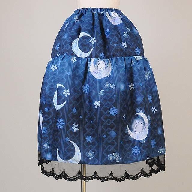 gouk雅 黎明の手向け柄ティアードスカート 青  GGD26-S914 BL/M
