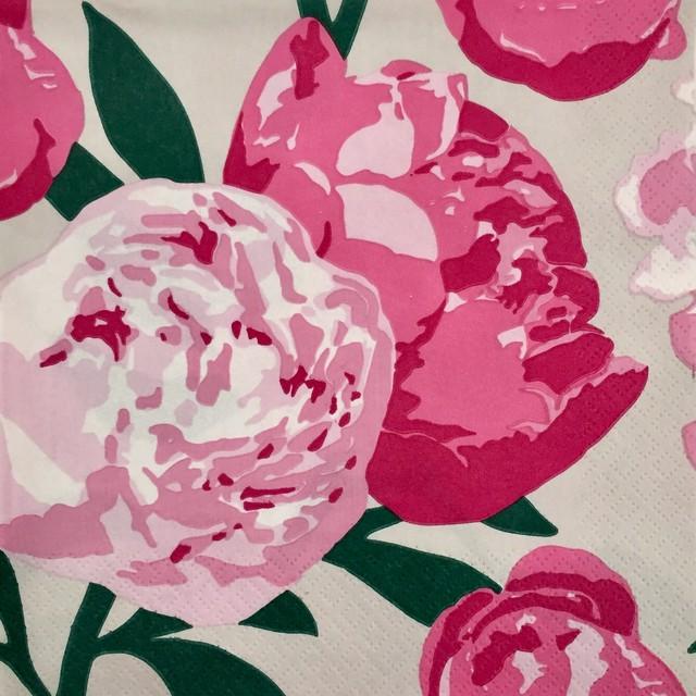 【PENTIK】バラ売り1枚 カクテルサイズ ペーパーナプキン PIONI ピンク×ライトグレー