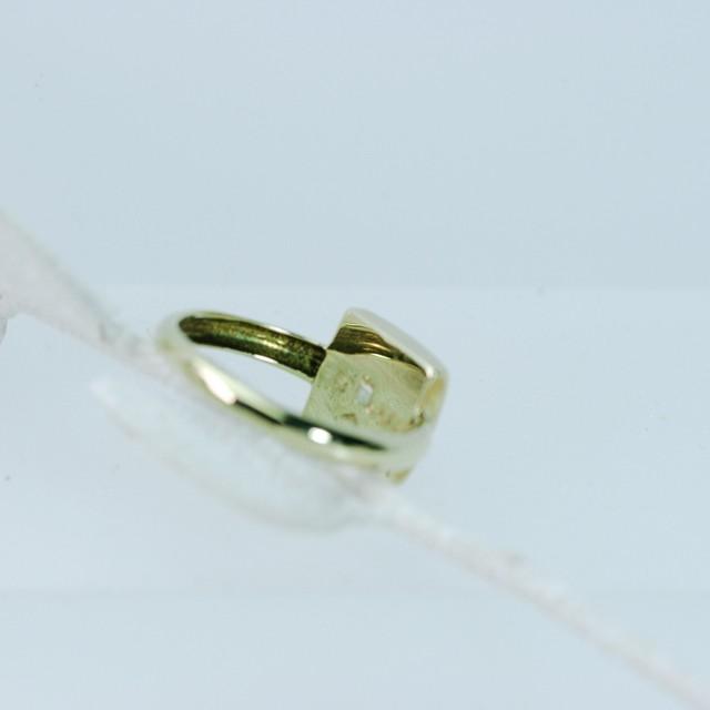 スクエア型シェルとダイヤモンドのリング K18 フランス