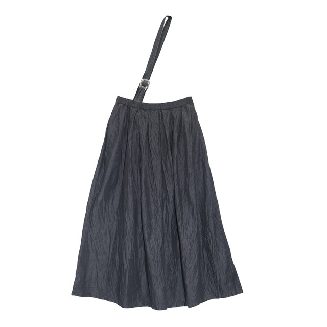 gグラム/g-168ブラックデニムワンショルダーロングスカート