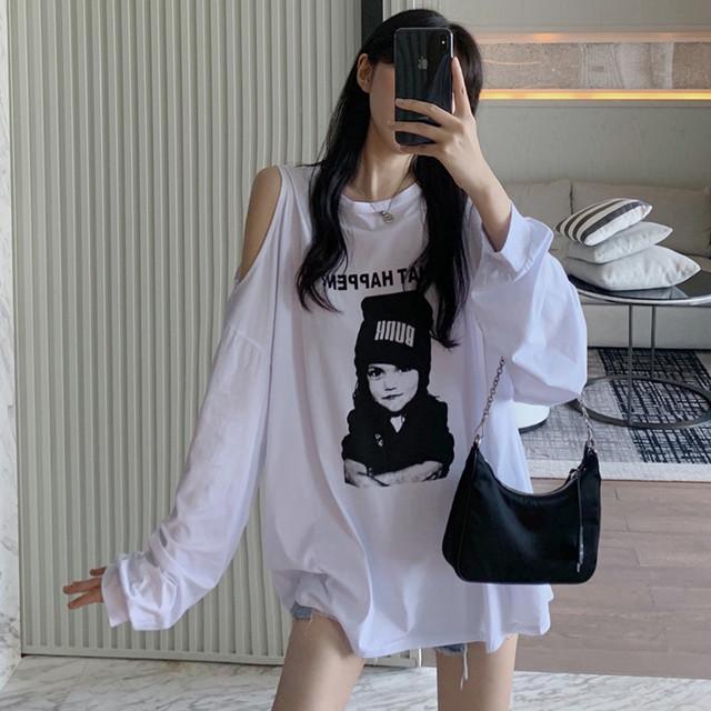 【トップス】韓国系長袖ラウンドネックプルオーバー透かし彫りTシャツ32646266