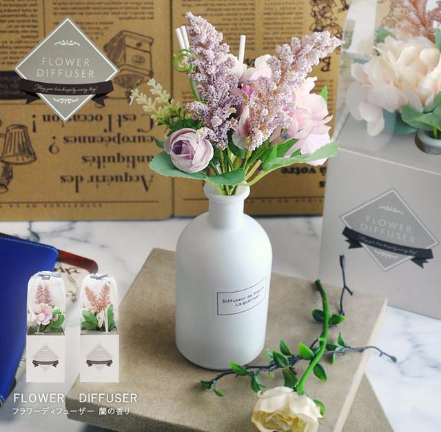 フラワーリードディフューザー 蘭の香り おしゃれ 芳香剤 女性 プレゼント ギフト