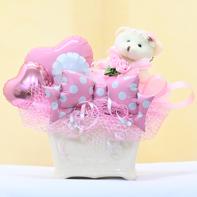 【くま】ピンク 水玉でキュートなバルーンギフト