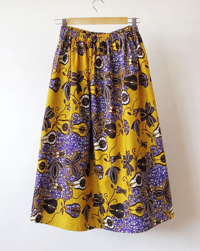 ふんわりギャザースカート|アフリカ布 / ロングスカート / マキシ丈
