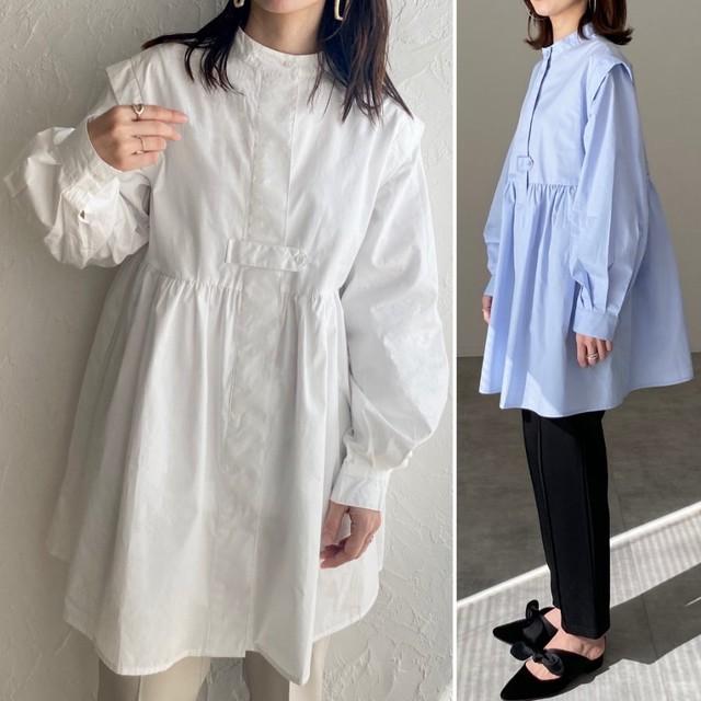 ◆即納◆バンドカラー ボリューム袖 長袖 フレアチュニックシャツ  OP-t122