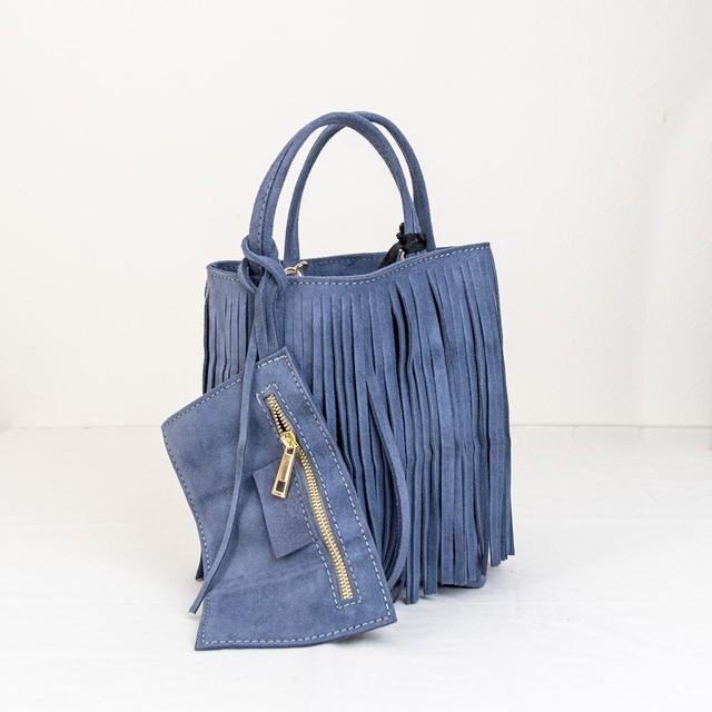 【MARLON/マーロン】スウェードレザーフリンジミニバッグ(ブルー)