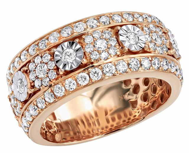 14K ROSE GOLD UNIQUE DIAMOND WEDDING BAND RING 2.25CT