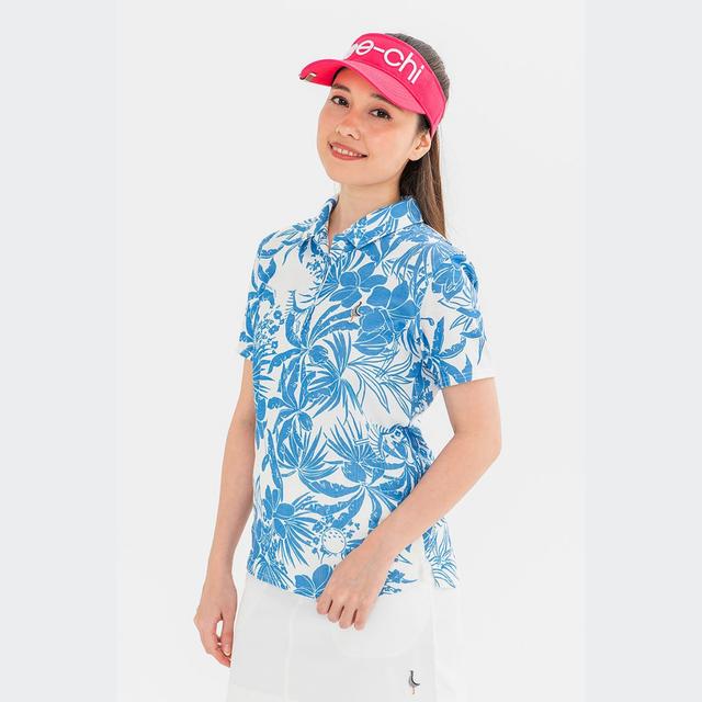【 LADIES 】「Tee-chi」×「PAIKAJI」サンゴクロスポロシャツ【WHITE×BLUE】<Sサイズ>