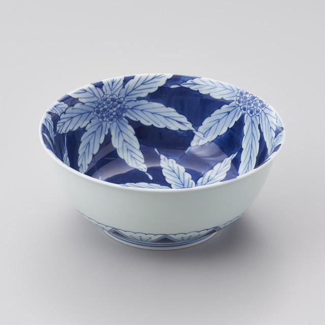 【青花 匠】染付枇杷の葉 盛鉢