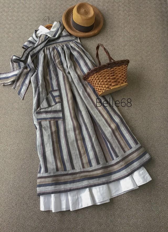 パリジャンストライプ   タブリエローブ&ヘッドスカーフ