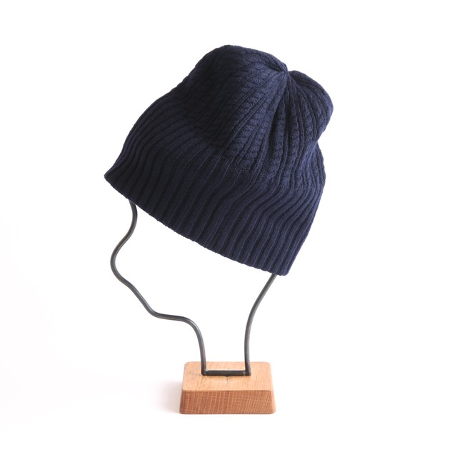mature ha./long rib knit cap tiny rope lamb/navy