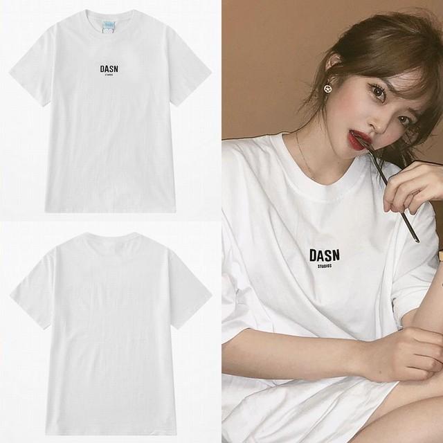 ユニセックス Tシャツ 半袖 ラウンドネック 英字 ワンポイント プリント オーバーサイズ 韓国ファッション メンズ レディース 大きいサイズ ルーズ ストリートファッション TBN-589201953298