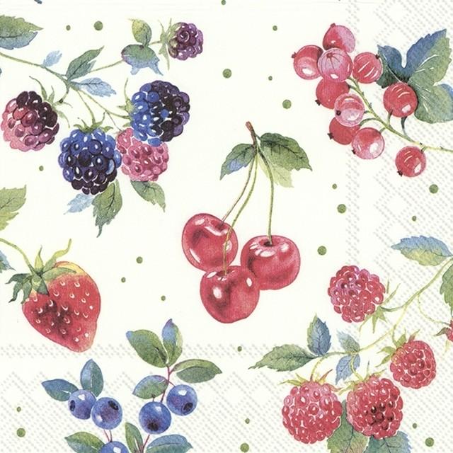 2020春夏【IHR】バラ売り2枚 ランチサイズ ペーパーナプキン RED SUMMER FRUITS ホワイト