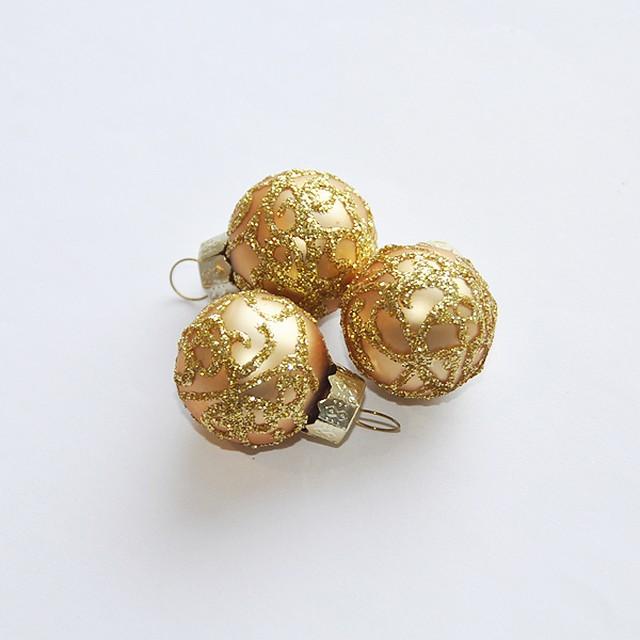 クリスマスオーナメントボール3個セット(ゴールド)
