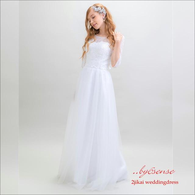 袖付きレースロングドレス・ 結婚式 パーティー ロング丈 花嫁 イブニングドレス    (dr306)