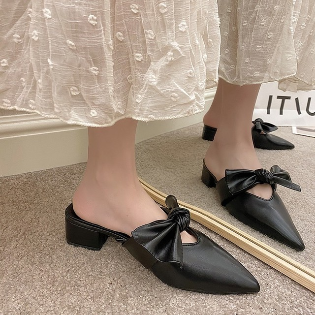 pointed toes leather ribbon flat 3c's